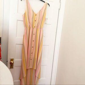 june & hudson multicolor striped high low dress M